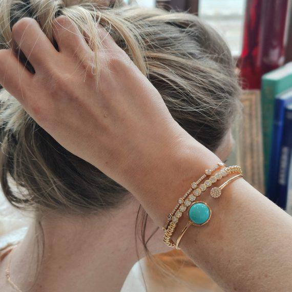 bracelet diamond turquoise yellow gold