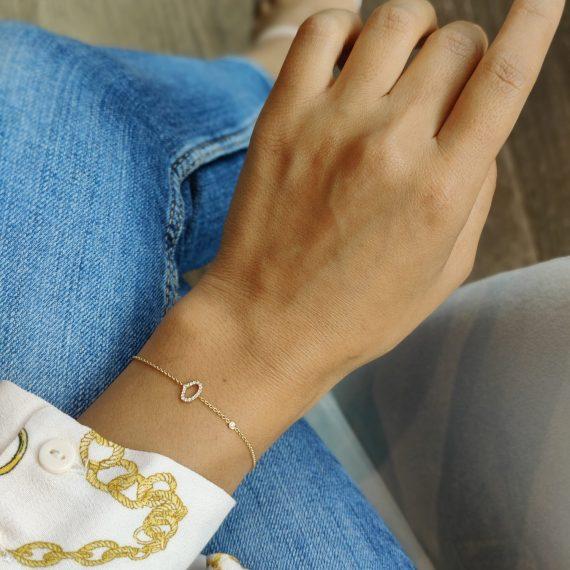 Sleutel van Amsterdam armband geelgoud diamant
