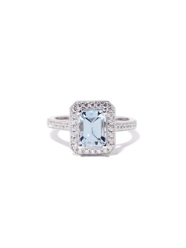 aquamarine ring art deco style
