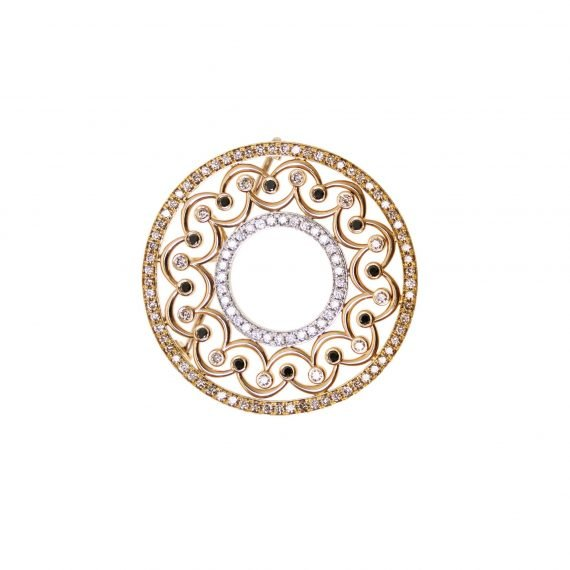 18 karat rose gold crown pendant & brooch with brown and black diamonds