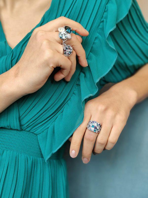 Bonebakker White Gold Ring with Blue Gemstones and Diamonds