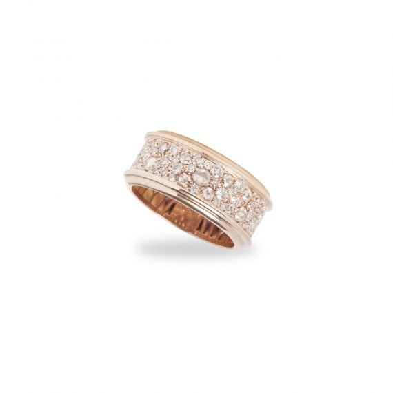 18 karat rose gold band ring with champagne rose and brilliant cut diamonds