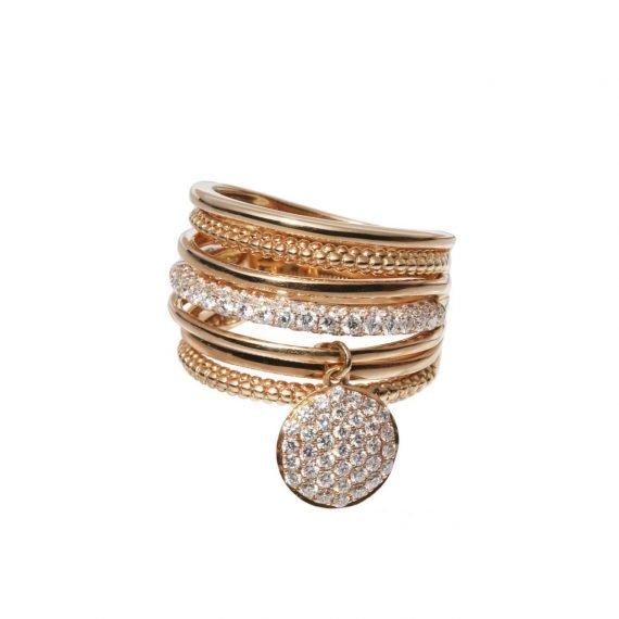 MULTIBAND PINK GOLD DIAMONDS CHARM