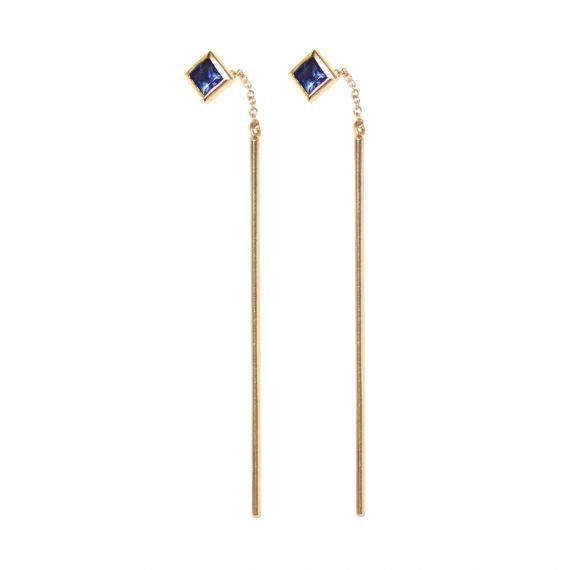 pull-throug earrings sapphire