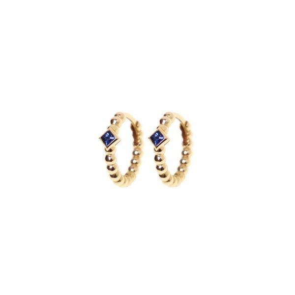 18 karat yellow gold Regalia hoop earring Sapphire