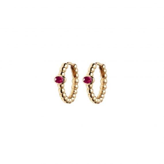 18 karat yellow gold Regalia hoop earring Ruby