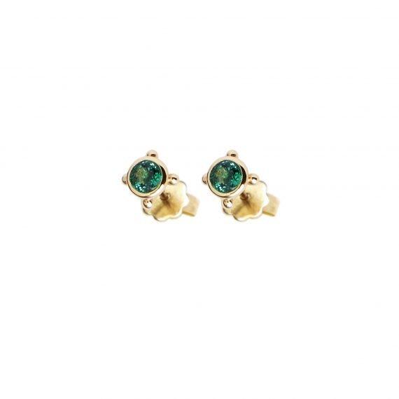 18 karat yellow gold Regalia stud earring Emerald