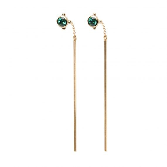 pull-through earring emerald