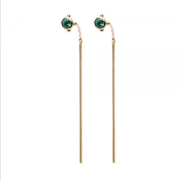 pull-through earring emerald