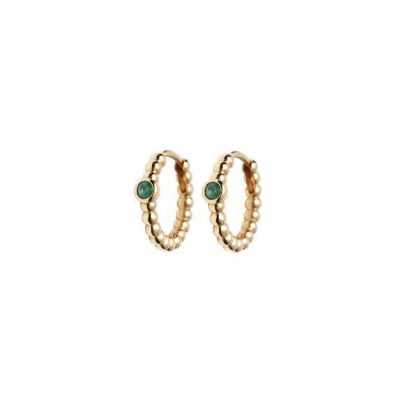 18 karat yellow gold Regalia hoop earring Emerald