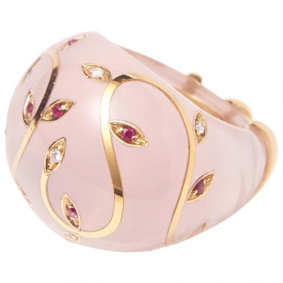Rose Quarts Ring with Gold and rubies and diamonds