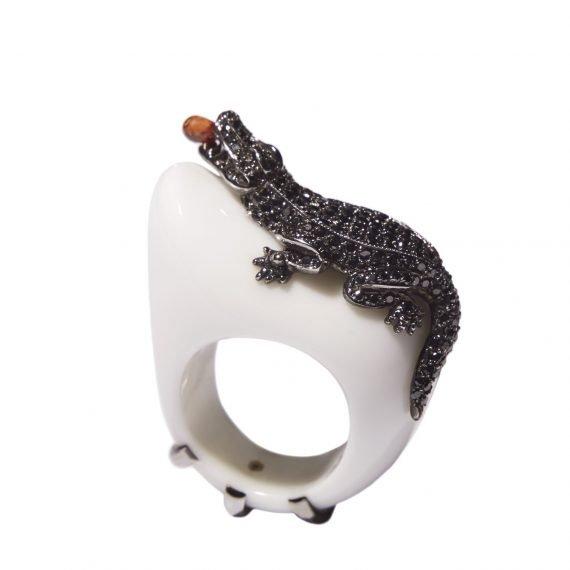 alligator ring black diamond agate