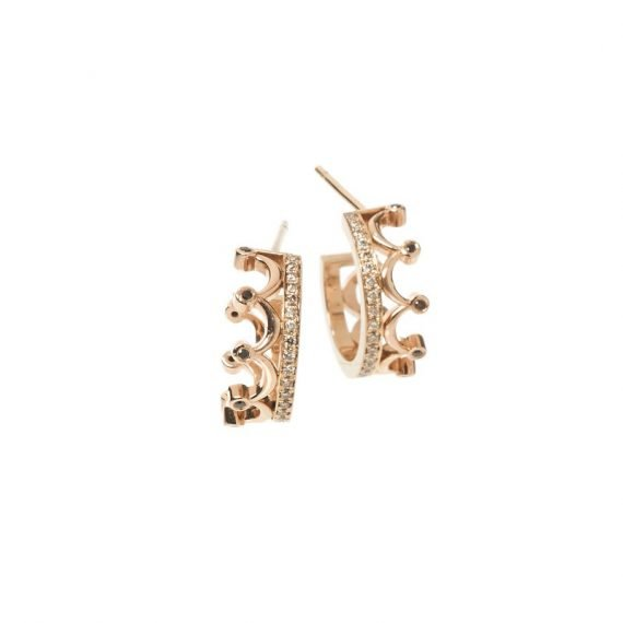 18 karat rose gold Crown earrings with brown and black diamonds