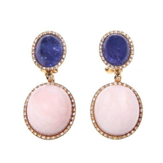 pink opal tanzanite pink gold earrings