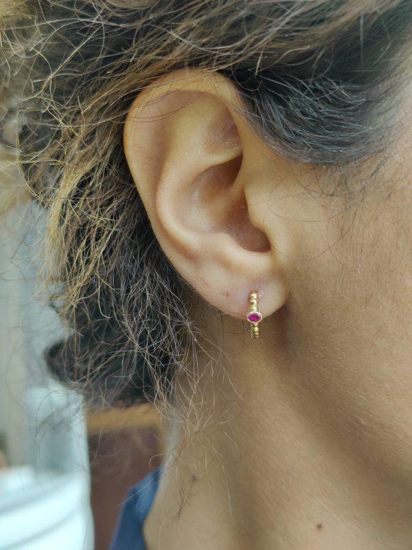 regalia ruby mini hoop earrings