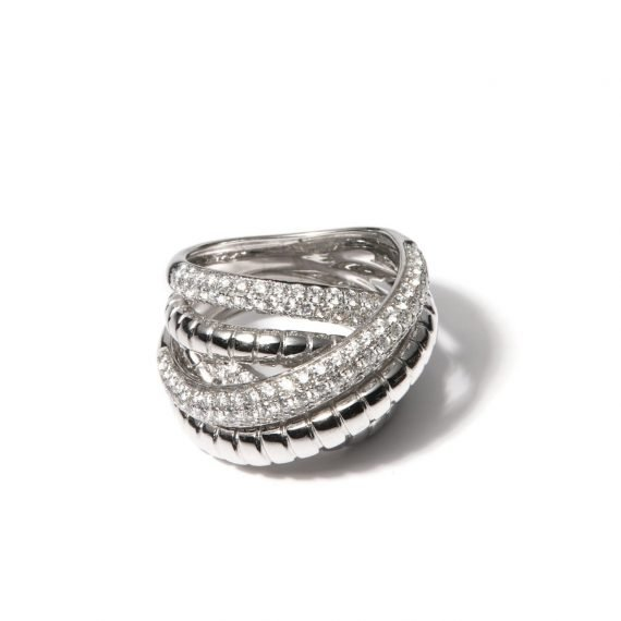ring multi band white gold diamonds