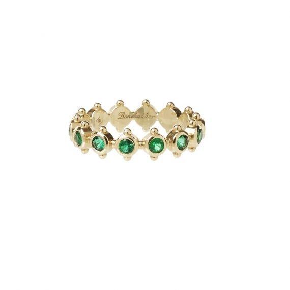 18 karat yellow gold Regalia eternity ring Emerald