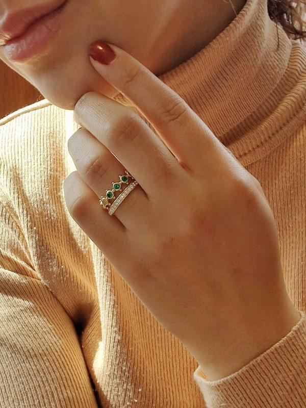 ringen smaragd diamant