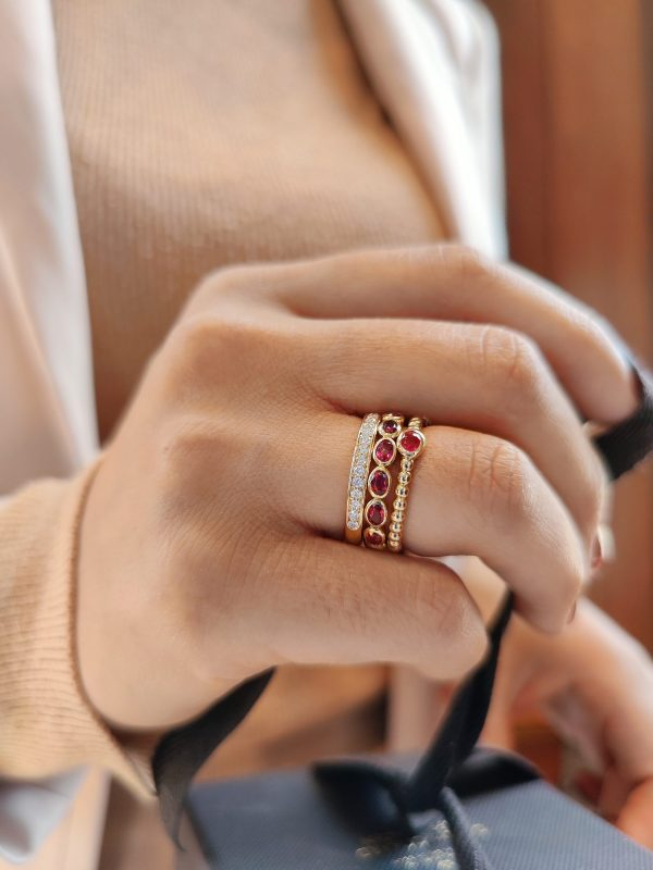 ruby diamond ring stack