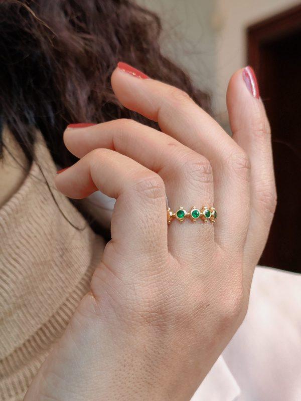 smaragd geelgoud ring
