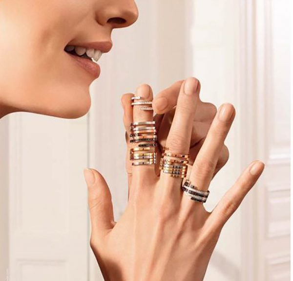 Dinh Van Spirale Rings, White Gold and Diamonds