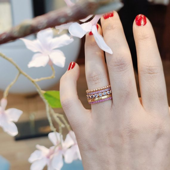 spring stack rings pink gold gems